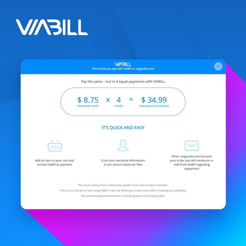 module - Payment by Card or Wallet - ViaBill – seamless financing! - 3