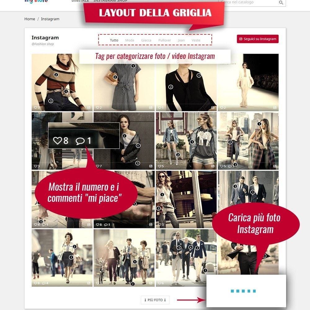module - Slider & Gallerie - INS Shopping Slider - Integrazione social network - 5