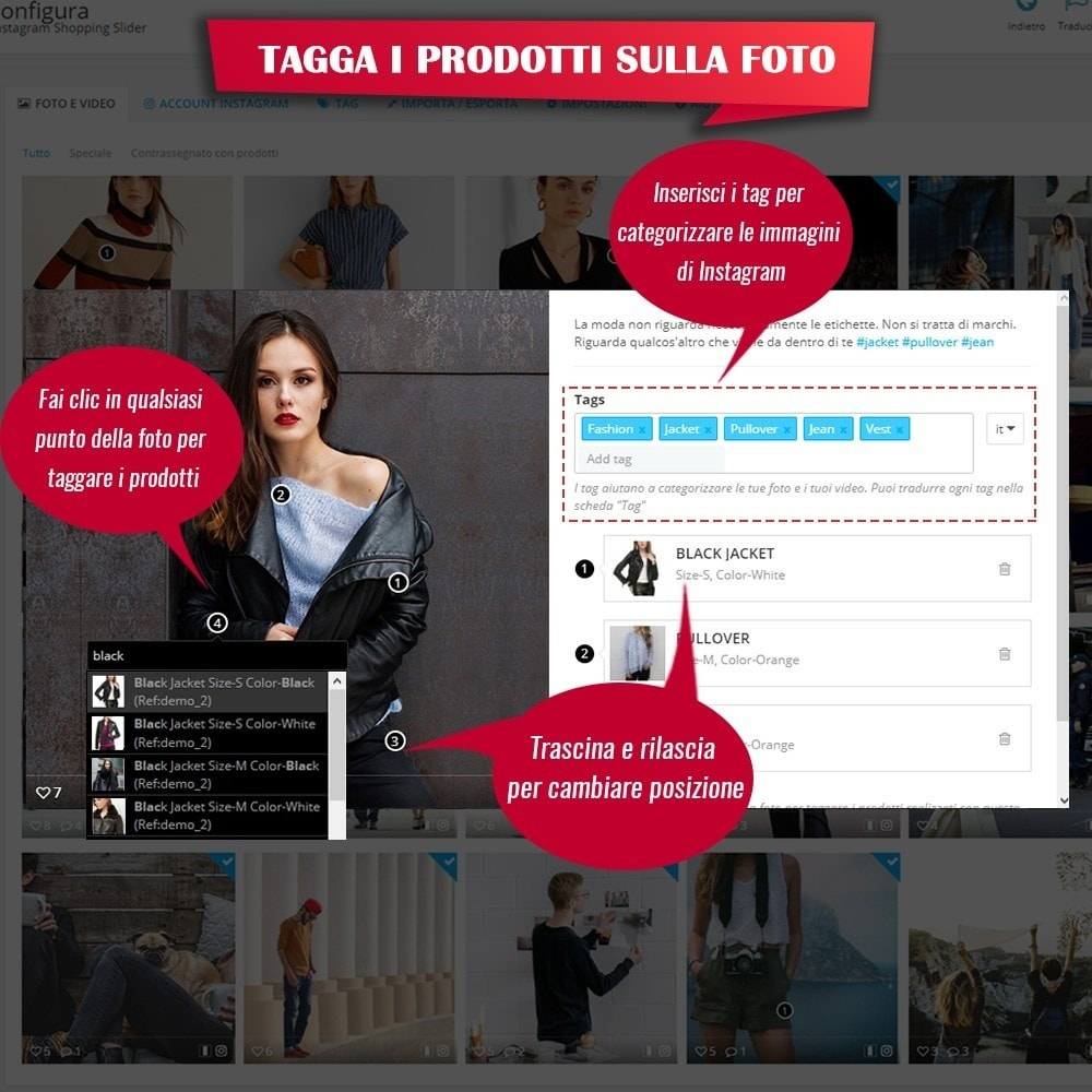 module - Slider & Gallerie - INS Shopping Slider - Integrazione social network - 12