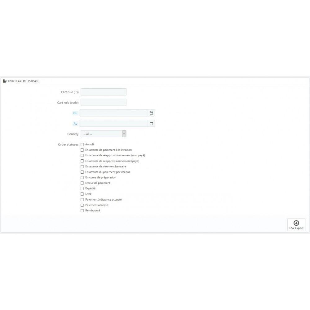 module - Importación y Exportación de datos - Carro de exportación Reglas de uso Órdenes CSV - 1