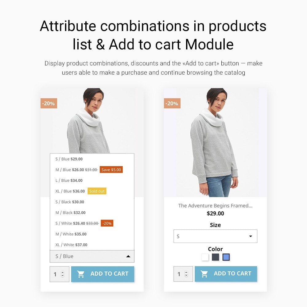 module - Combinaciones y Personalización de productos - Attribute combinations in products list &  Add to cart - 1