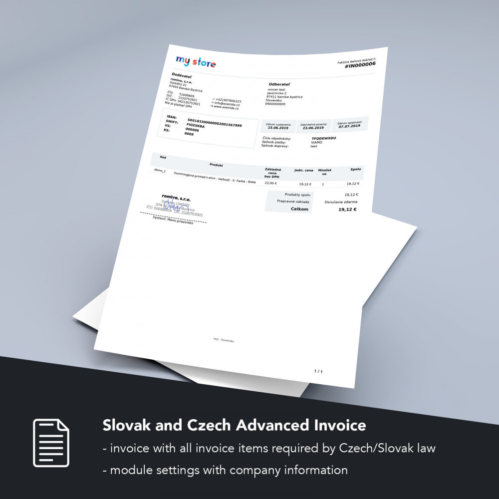 module - Contabilità & Fatturazione - Slovak and Czech Advanced Invoice - 1