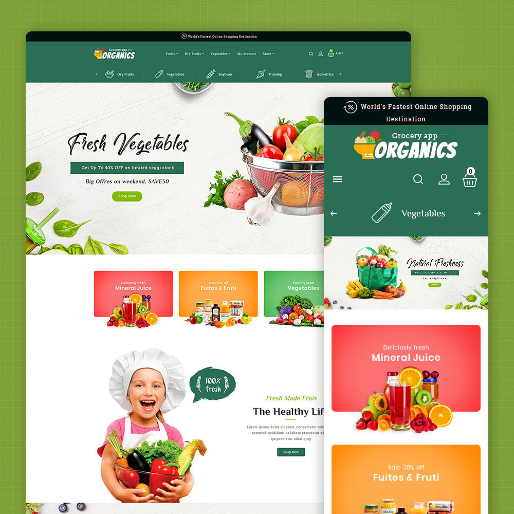 theme - Lebensmittel & Restaurants - Organics - Online Grocery Shop - 1