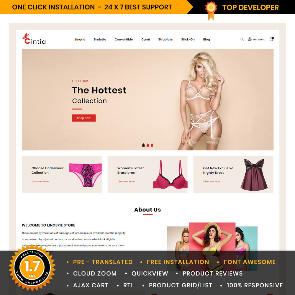 theme - Lingerie & Erwachsene - Cintia Lingerie & Adult Store - 1