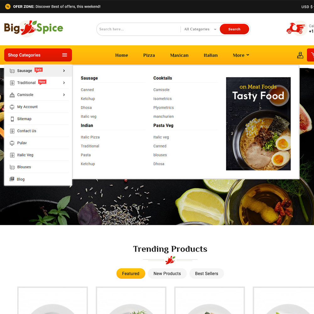theme - Alimentation & Restauration - Big Spice - Fast Food & Dishes - 9