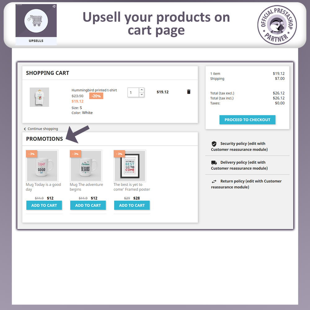 module - Cross-selling & Product Bundles - Upsell Products - Push on Cart - 2