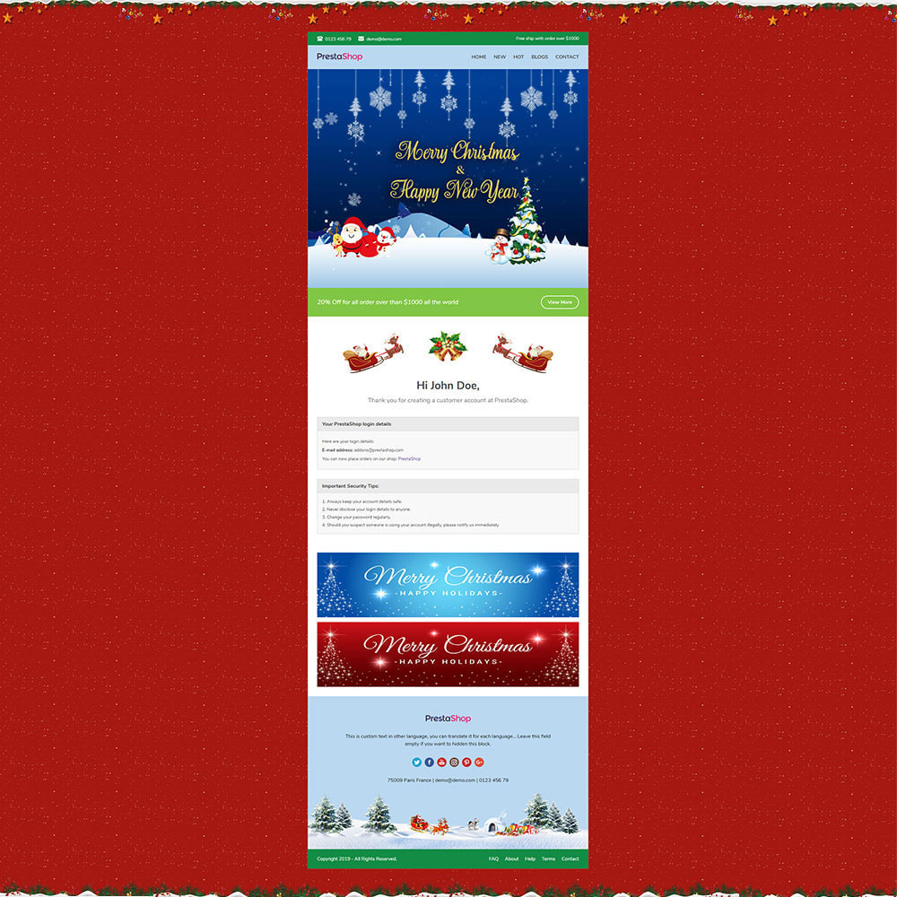 email - Plantillas de correos electrónicos PrestaShop - Christmas - Template emails and for emails of module - 3