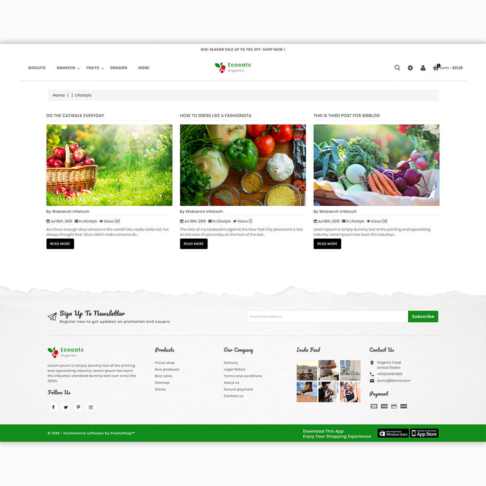 theme - Alimentation & Restauration - EcoEat - Organic Food - 6
