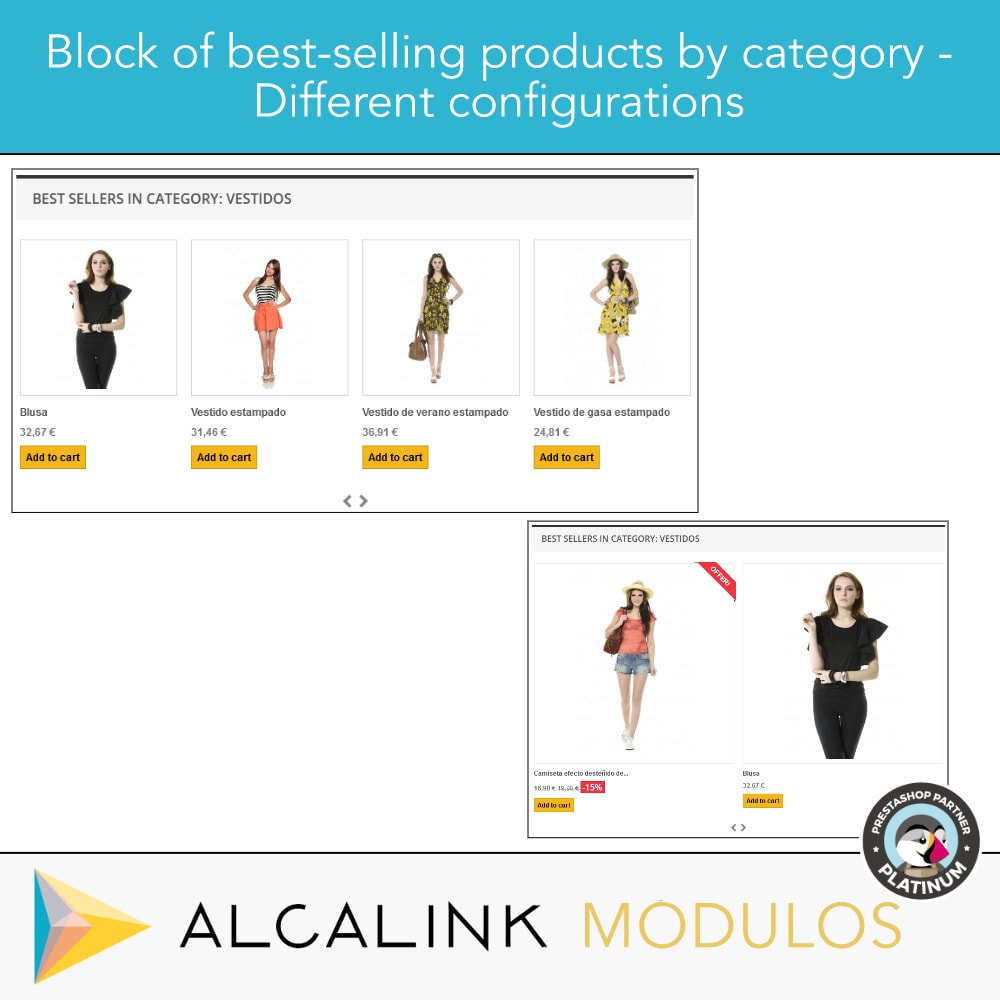 module - Blokken, Tabbladen & Banners - Best selling products BY CATEGORY - 4