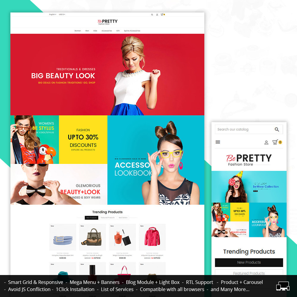 theme - Мода и обувь - BePretty Fashion Store - 1