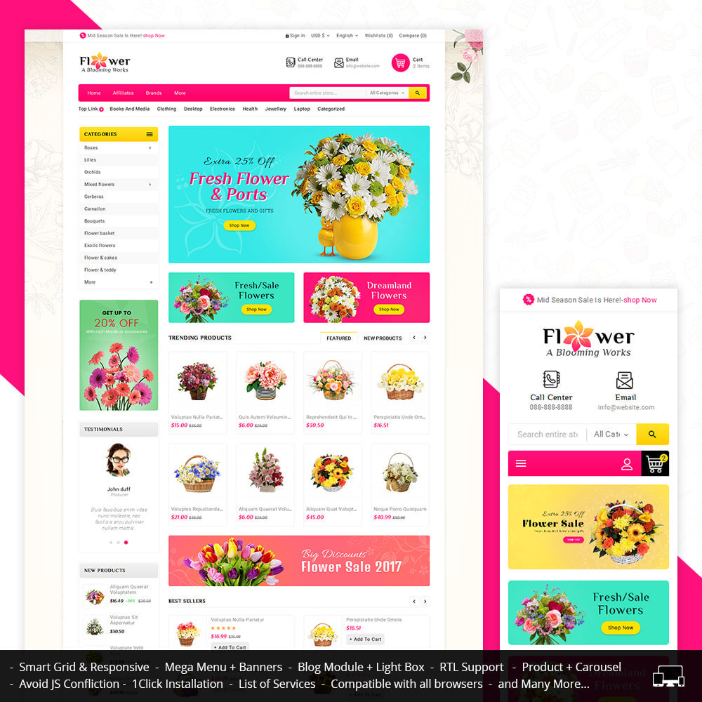 theme - Gifts, Flowers & Celebrations - Blooming Flower Mega Store - 1