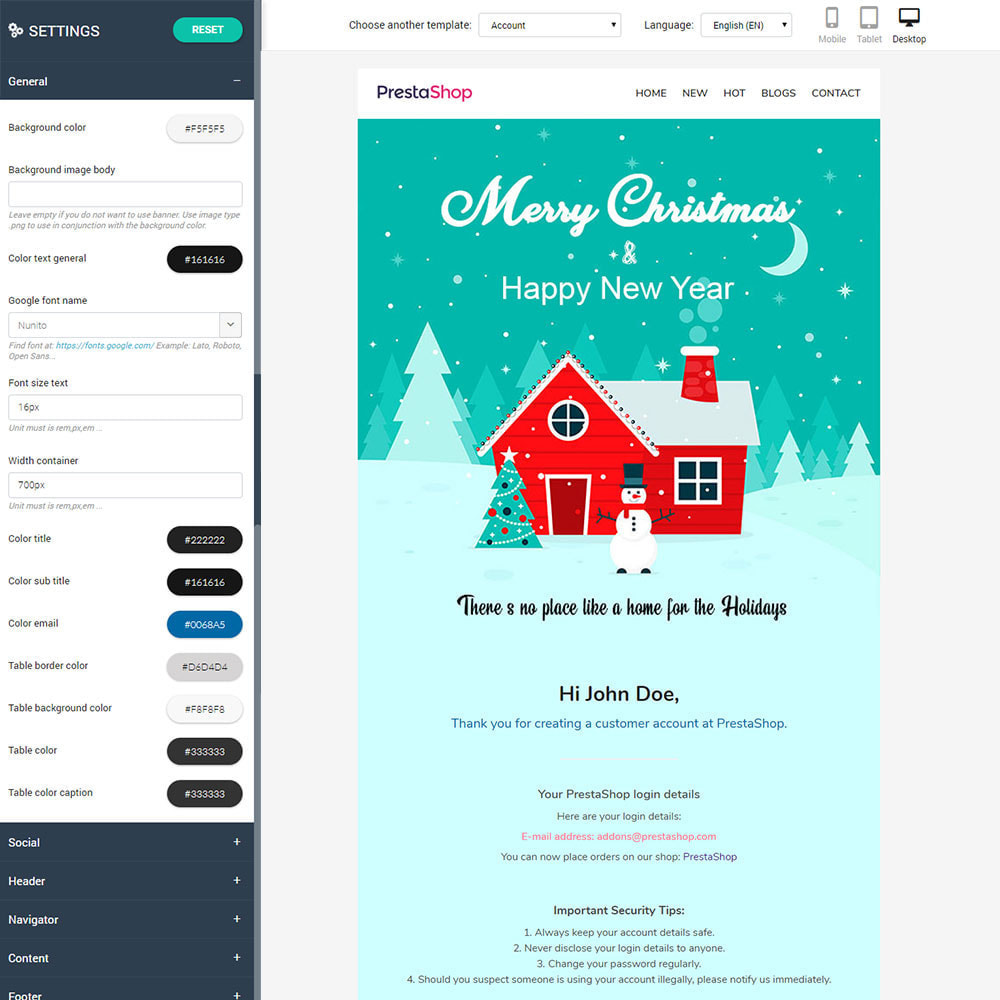 email - Templates d'e-mails PrestaShop - New Year - Email templates Customize - 2