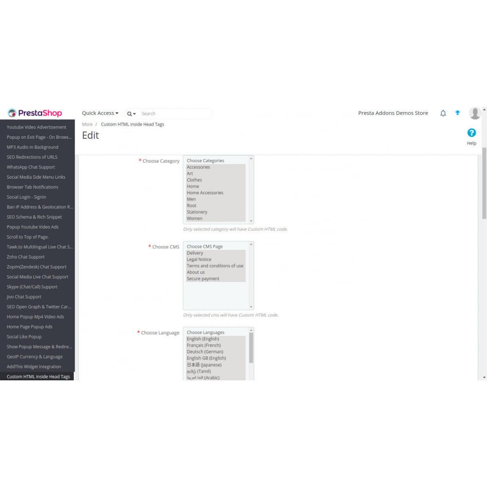 module - SEO - Benutzerdefiniertes HTML, CSS, JS auf Seiten - 4