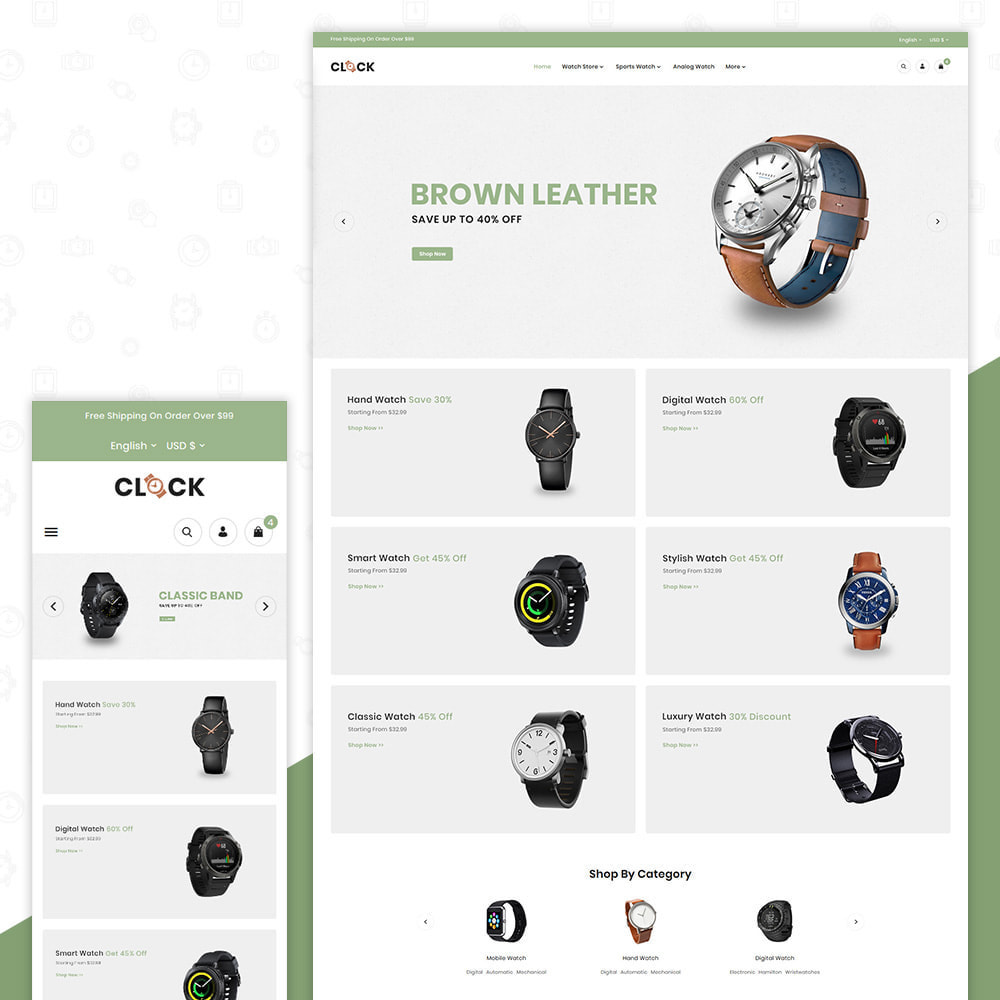 theme - Спорт и Путешествия - Watch Time – Clock Premium Store - 1