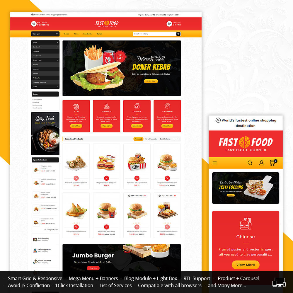 theme - Food & Restaurant - Fast Food & Dinks Corner - 1