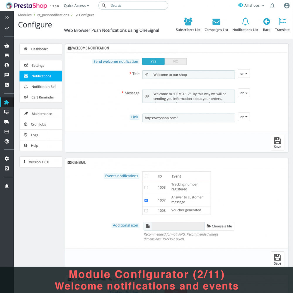 module - Remarketing & Opuszczone koszyki - Web Browser Push Notifications using OneSignal - 5