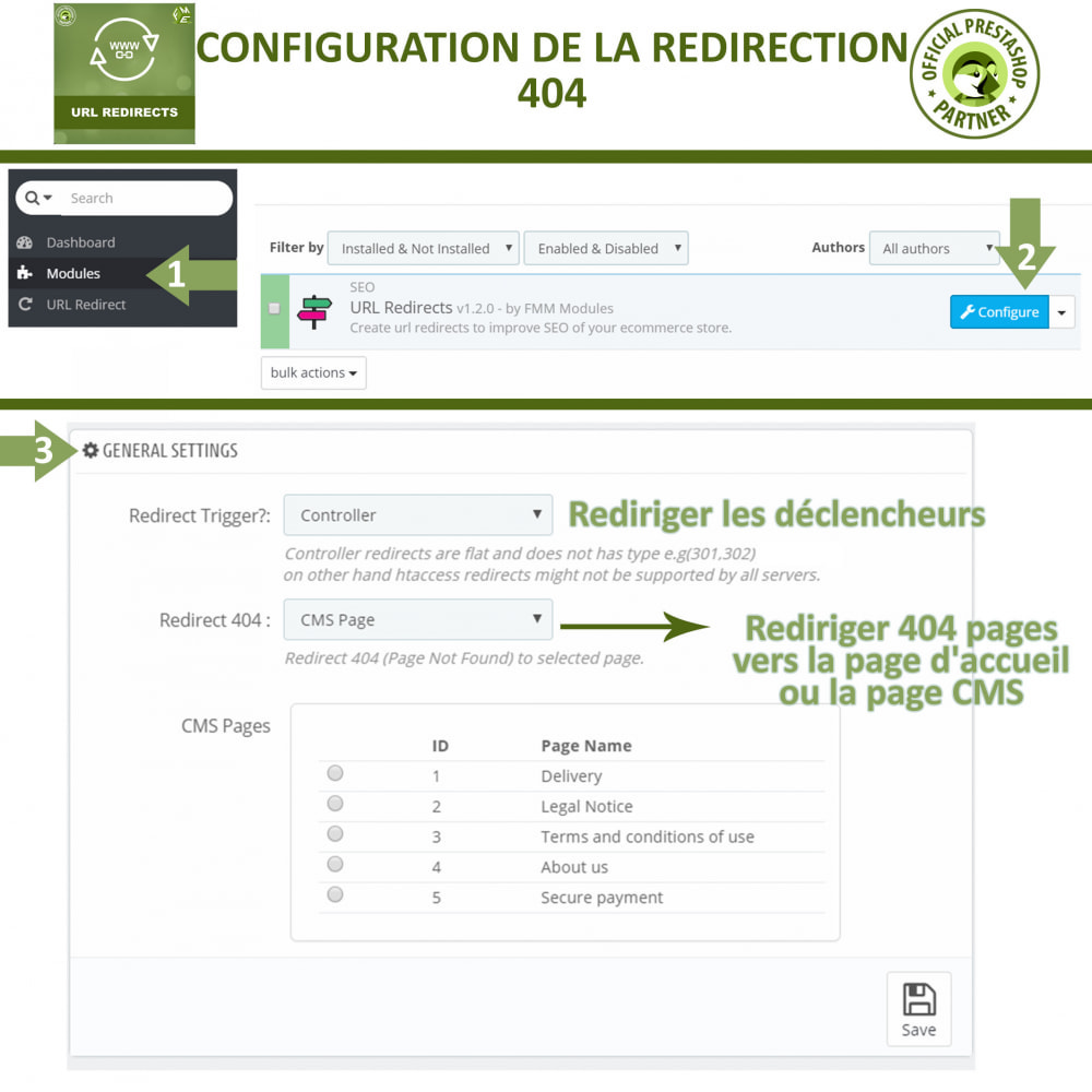 module - URL & Redirections - Redirection d'URL, Gérer 301, 302, 303, et 404 URL - 2