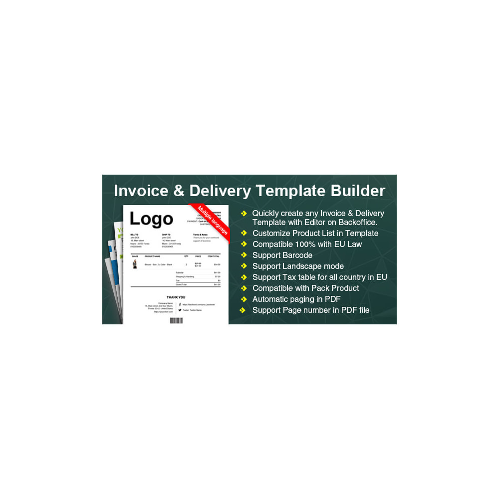 module - Contabilidade & Cobrança - Advance Invoice, Delivery, Credit PDF + Custom Number - 15