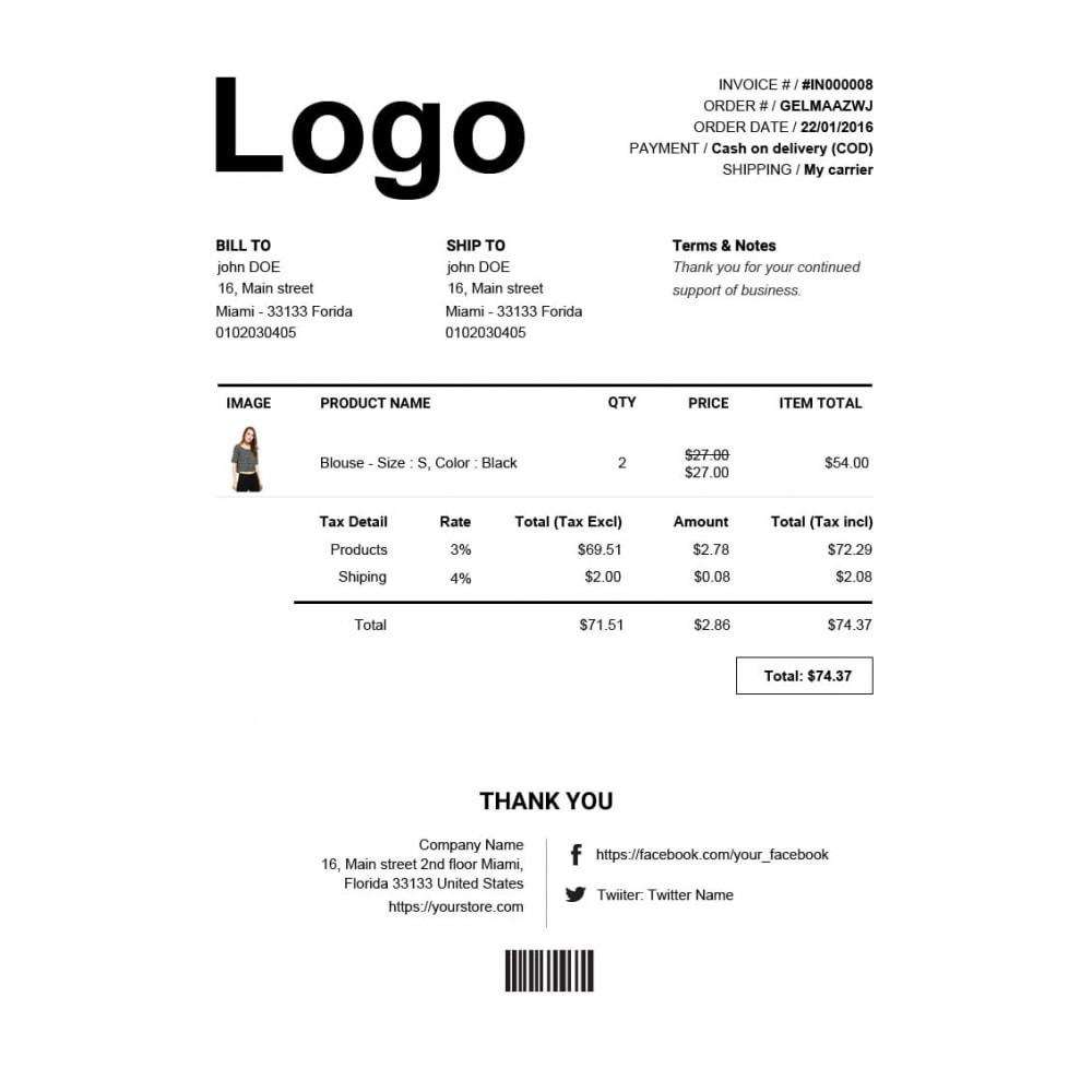 module - Buchhaltung & Rechnung - Rechnung, Lieferung, Gutschrift PDF + Kundenummer - 5