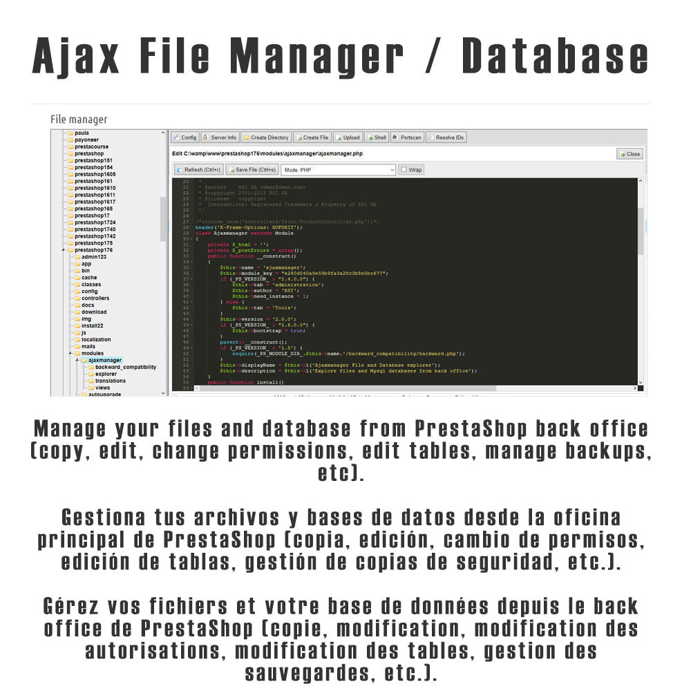 module - Administrationstools - Ajax File / Database Manager - 1