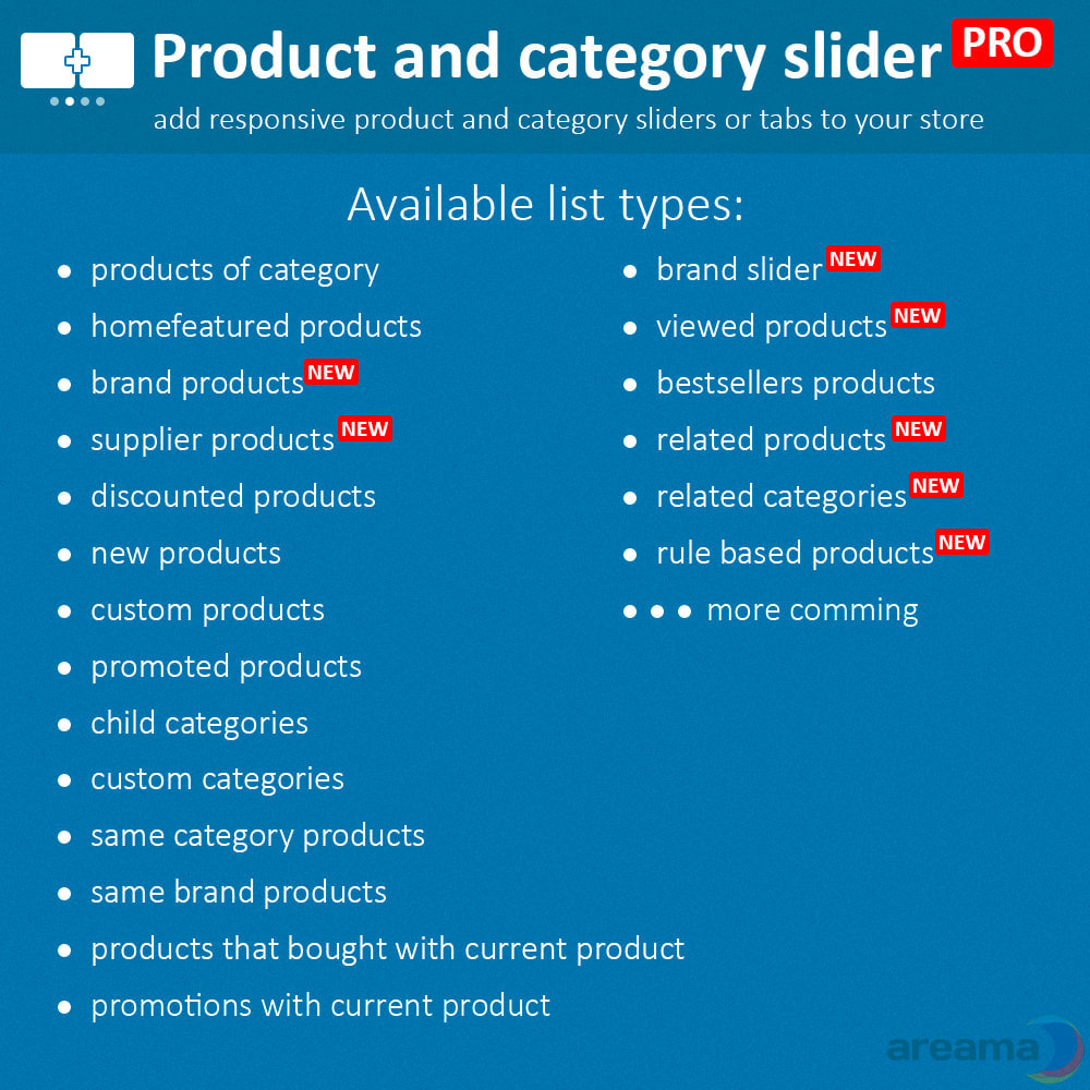 module - Information supplémentaire & Onglet produit - Product slider PRO + categories + related products - 2