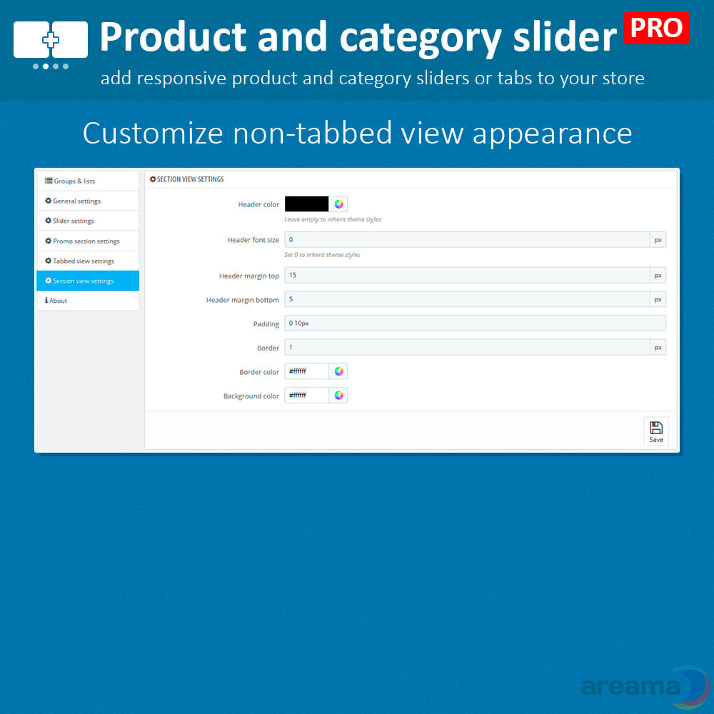 module - Information supplémentaire & Onglet produit - Product slider PRO + categories + related products - 15