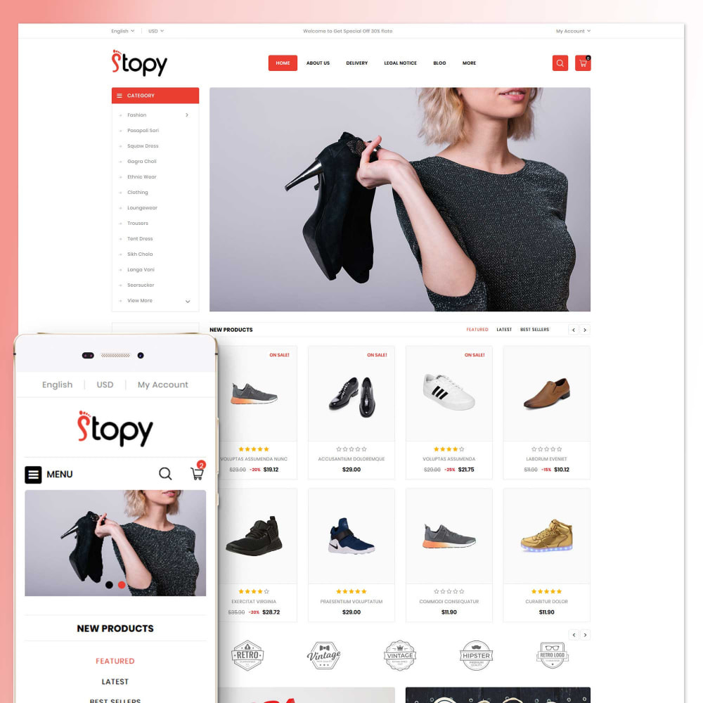 theme - Fashion & Shoes - Stopy - Shoes Store - 1