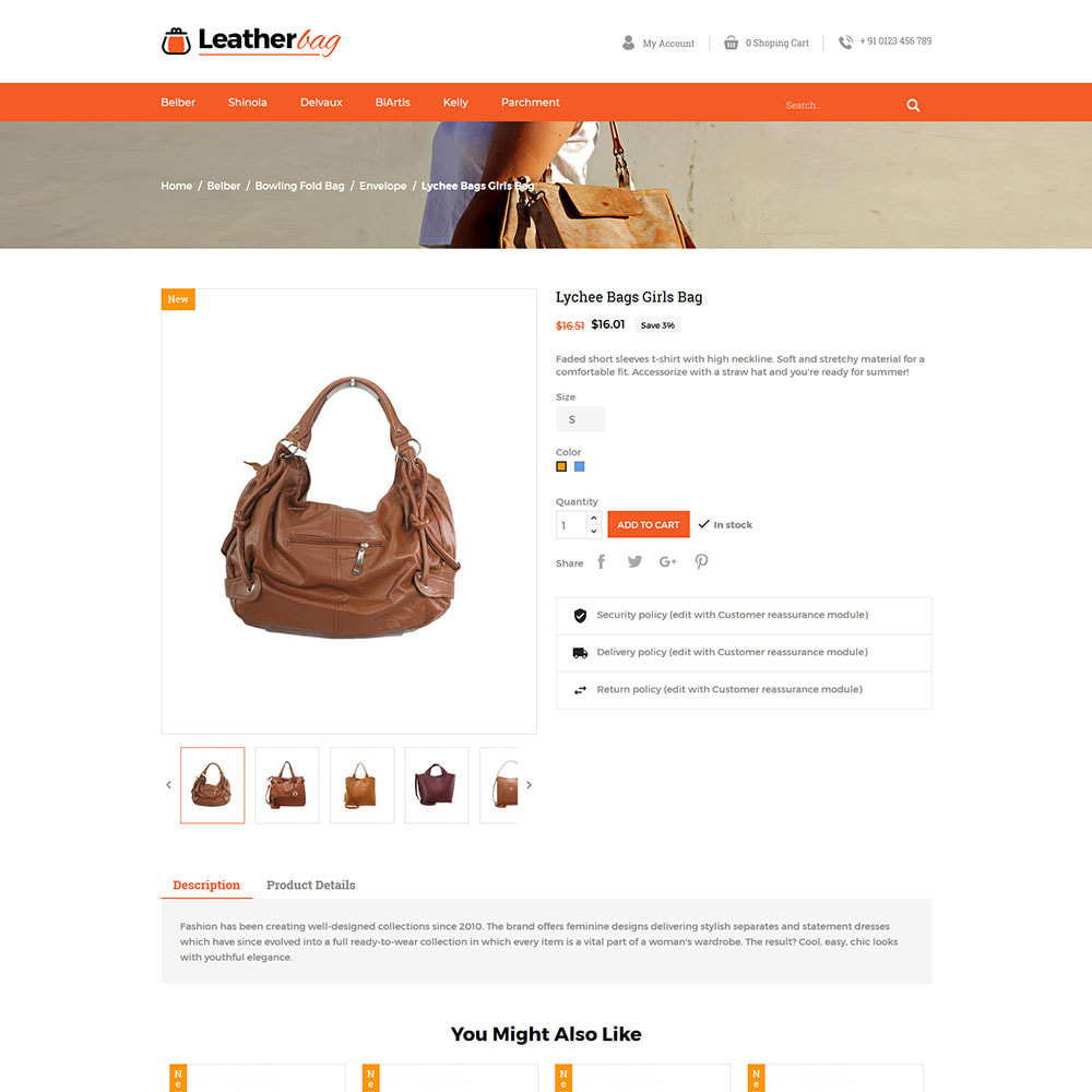 theme - Fashion & Shoes - Leather Bag - Apparels  Fashion Store - 5