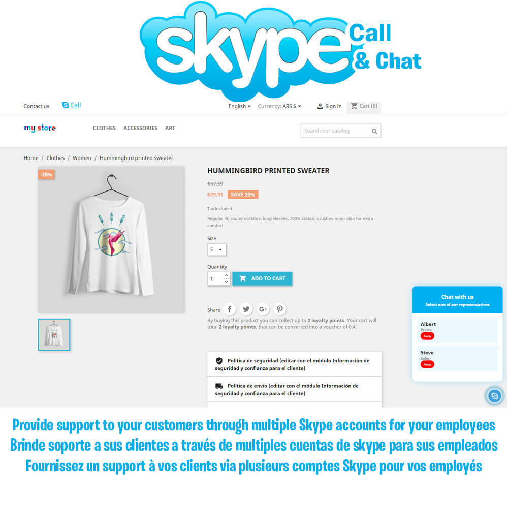module - Asistencia & Chat online - Skype Call Button / Chat support - 1