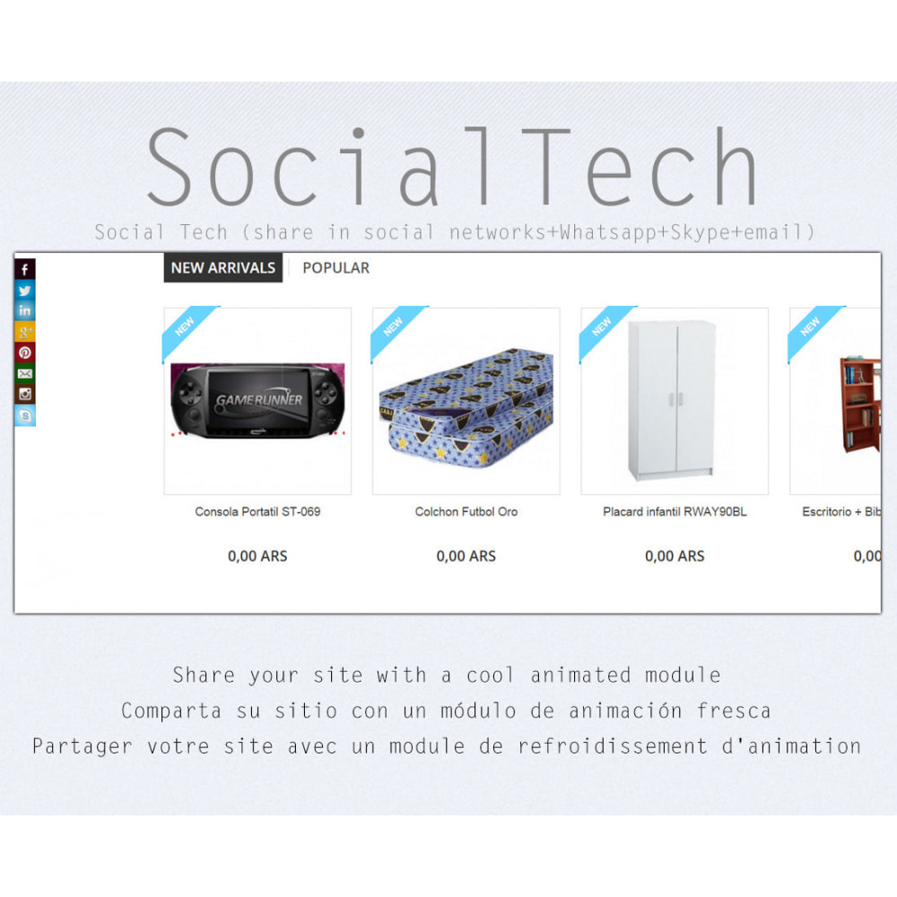 module - Boutons de Partage & Commentaires - Social Tech (social networks+Whatsapp+Skype) - 1