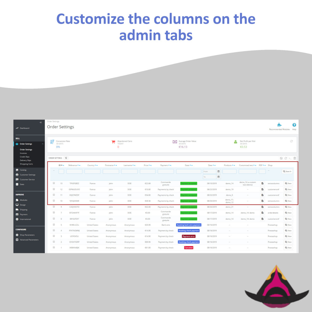 module - Administrative Tools - Customize the columns on the admin lists - 5