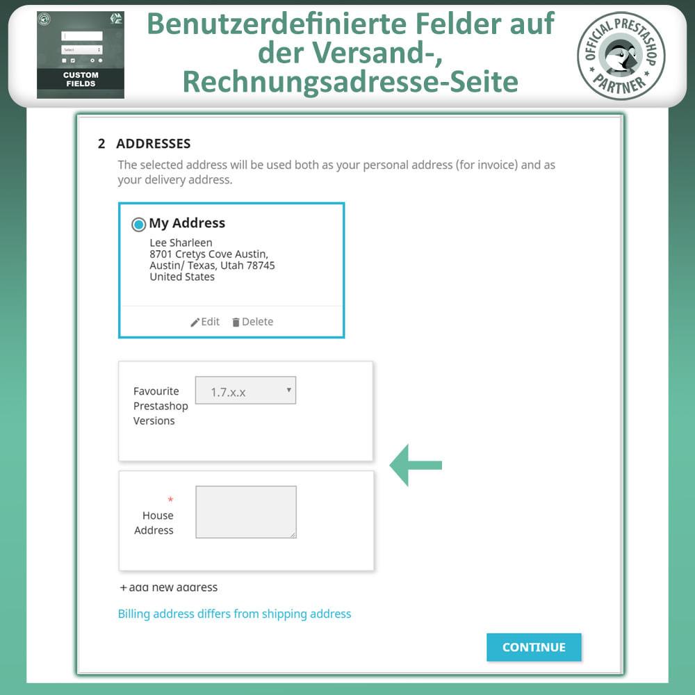module - Anmeldung und Bestellvorgang - Benutzerdefinierte Felder, Fügen Sie Feld zur Checkout - 5
