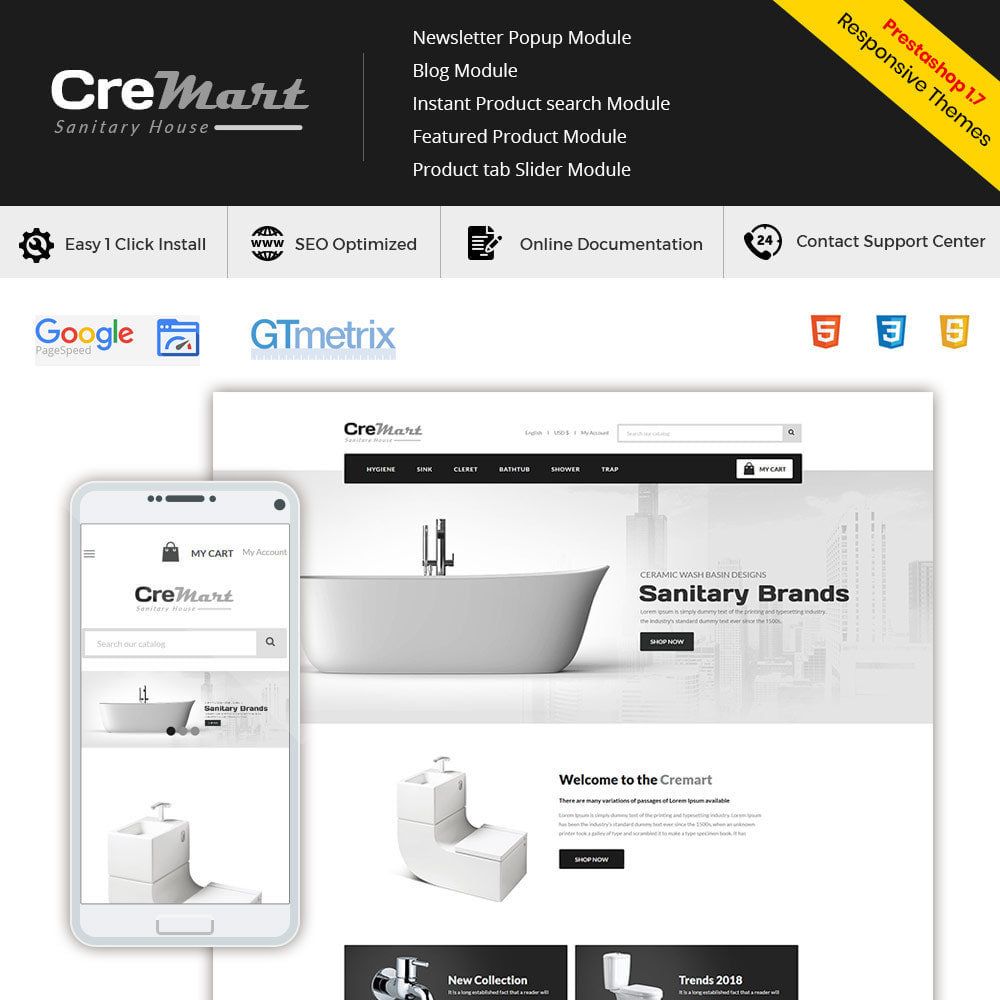 theme - Home & Garden - Cremart Sanitary - Sink Washbasin Store - 1