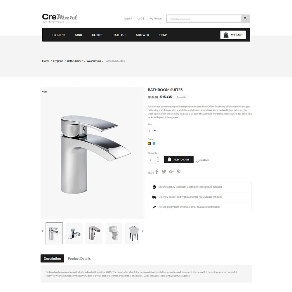 theme - Home & Garden - Cremart Sanitary - Sink Washbasin Store - 5