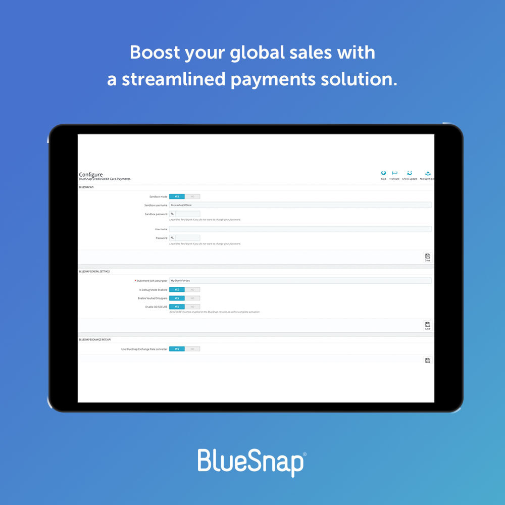 module - Payment by Card or Wallet - BlueSnap All-in-one Global Payment - 1