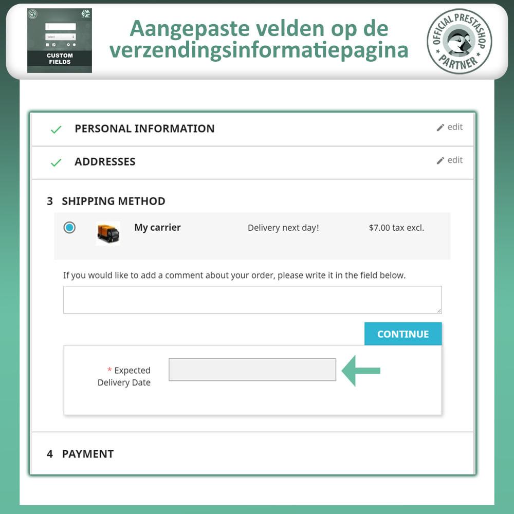 module - Registratie en Proces van bestellingen - Aangepaste Velden: Voeg extra veld toe aan uitchecken - 6