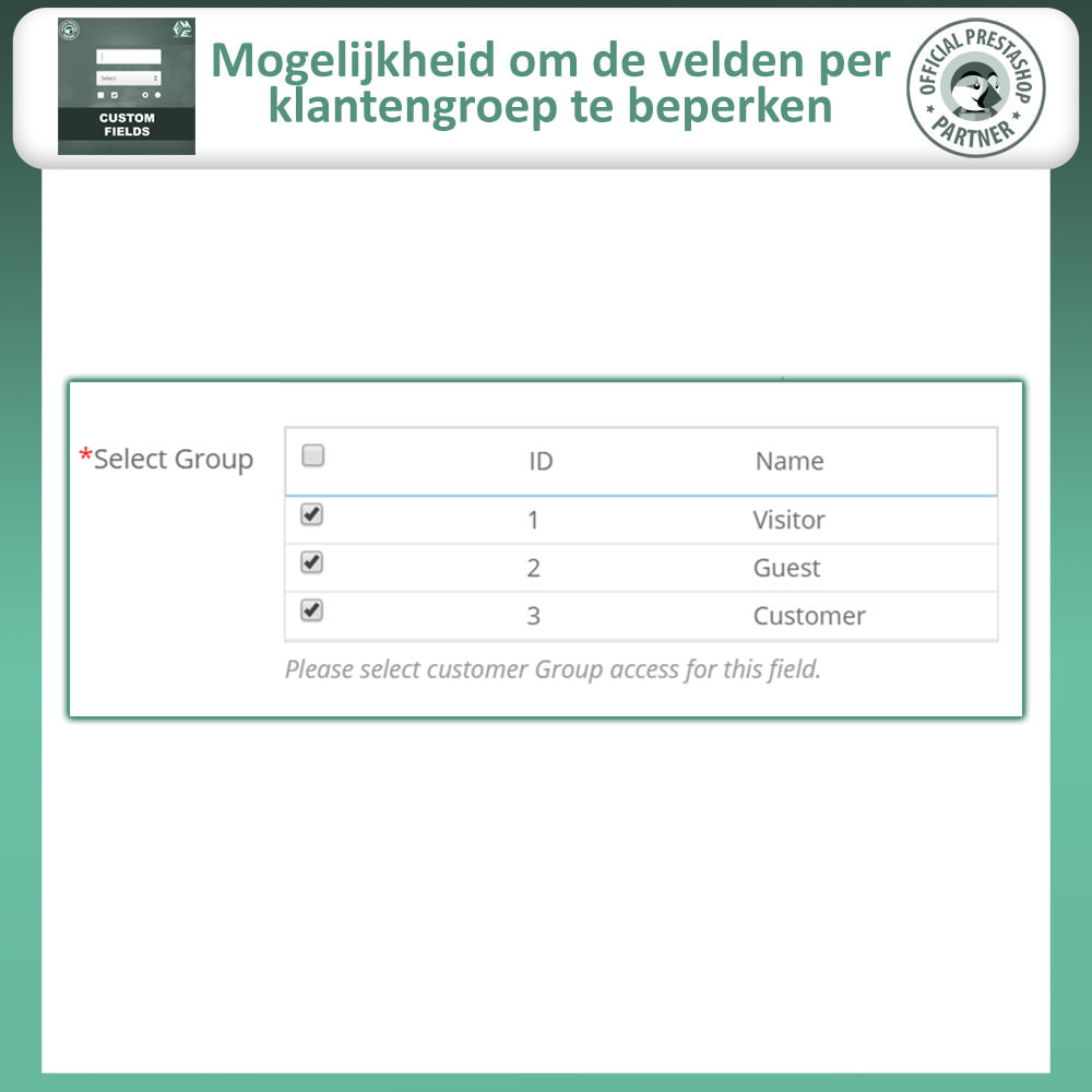 module - Registratie en Proces van bestellingen - Aangepaste Velden: Voeg extra veld toe aan uitchecken - 13