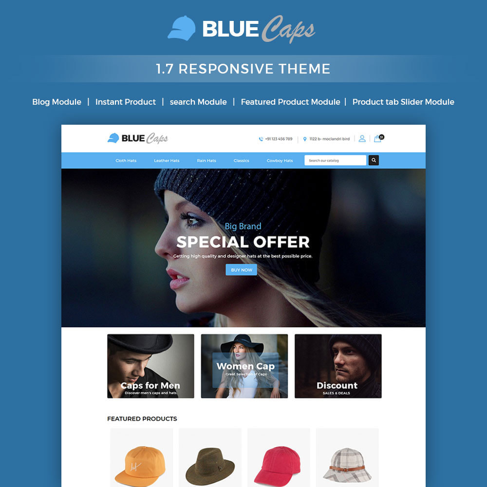 theme - Moda & Calçados - Blue Caps  - Fashion Accessories Hats Store - 1