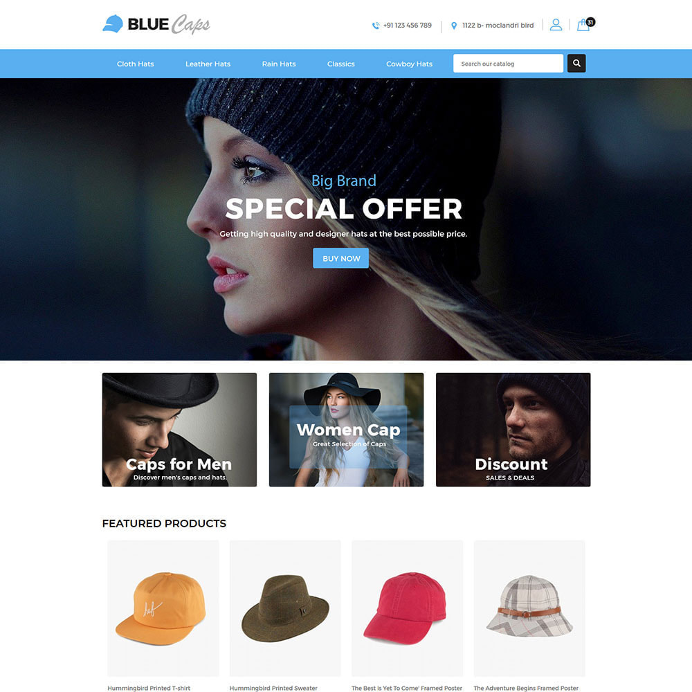 theme - Moda y Calzado - Blue Caps  - Fashion Accessories Hats Store - 2