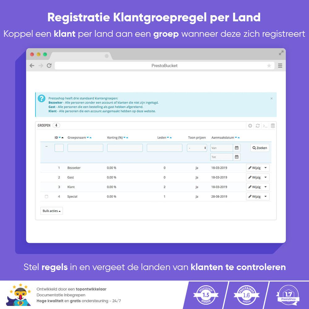 module - Klantendienst - Registratie Klantgroepregel per Land - 1