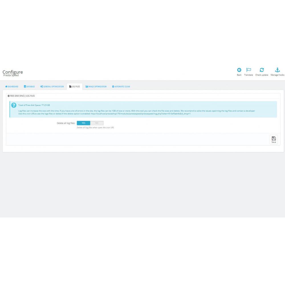 module - Wydajnośc strony - PrestaSpeed - Image / site / database optimization - 6