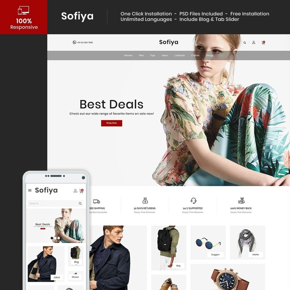 theme - Mode & Chaussures - Sofiya Fashion  -Designer Cloth  Store - 1