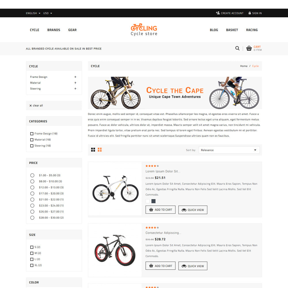 theme - Samochody - Cycling Bicycle store - 4