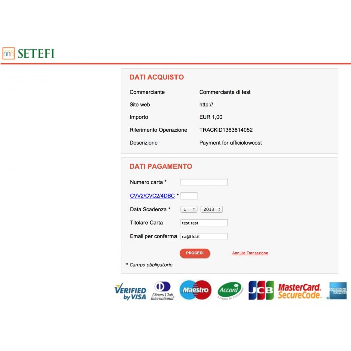 module - Payment by Card or Wallet - Payment with Credit Card by setefi Intesa San Paolo - 2