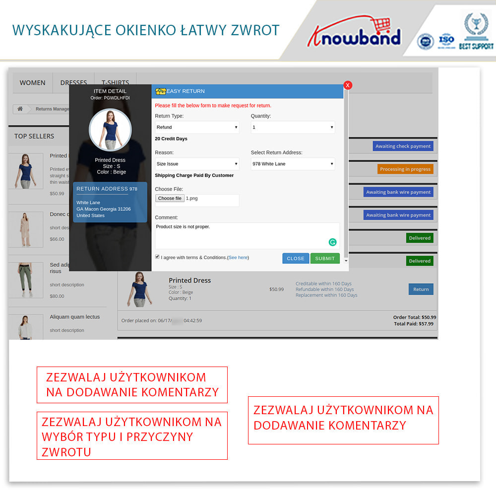 module - Serwis posprzedażowy - Knowband - Order Return Manager(Return Slip & Barcode) - 4