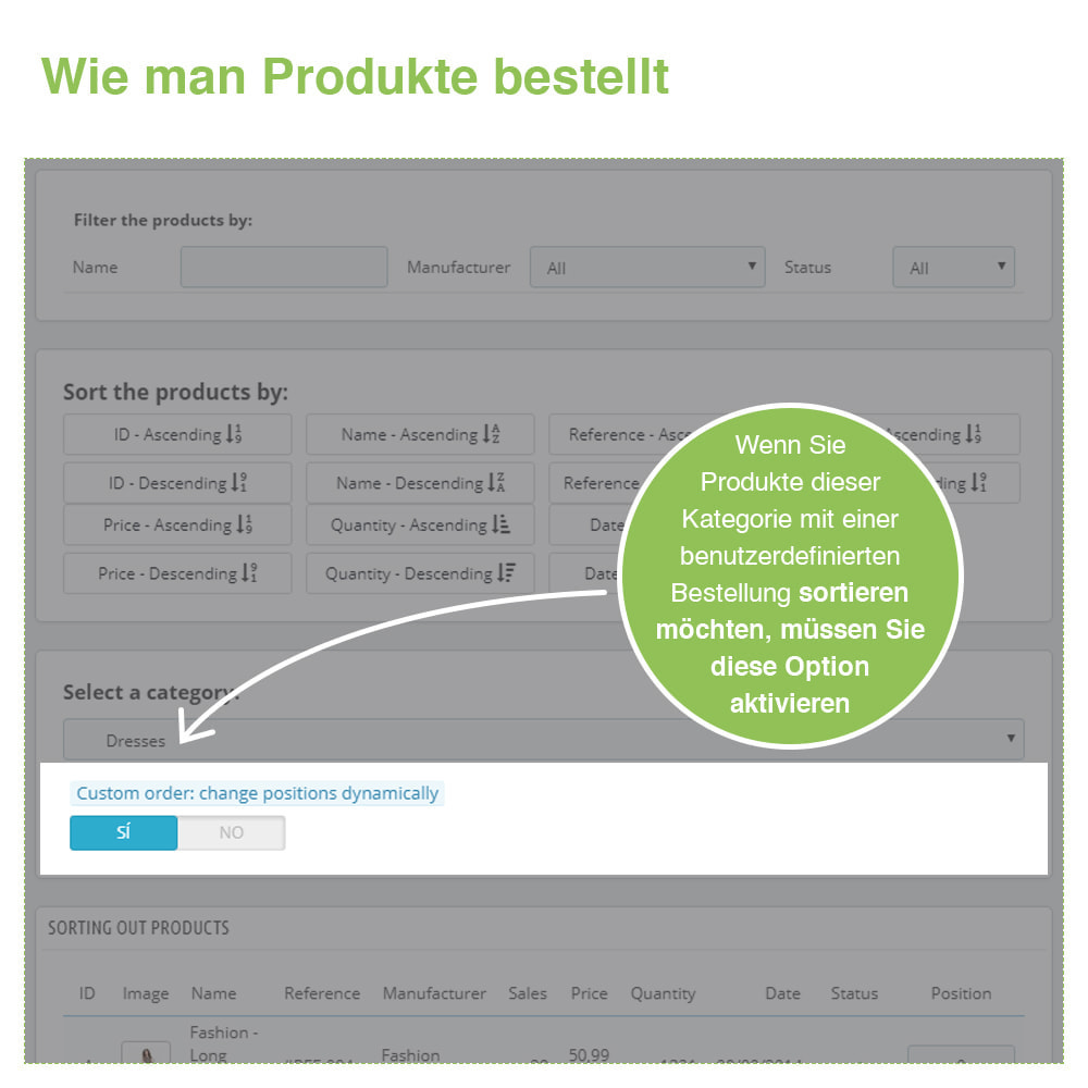 module - Quick Eingabe & Massendatenverwaltung - Sortierung der Produkte nach Kategorie - Bestellung - 5