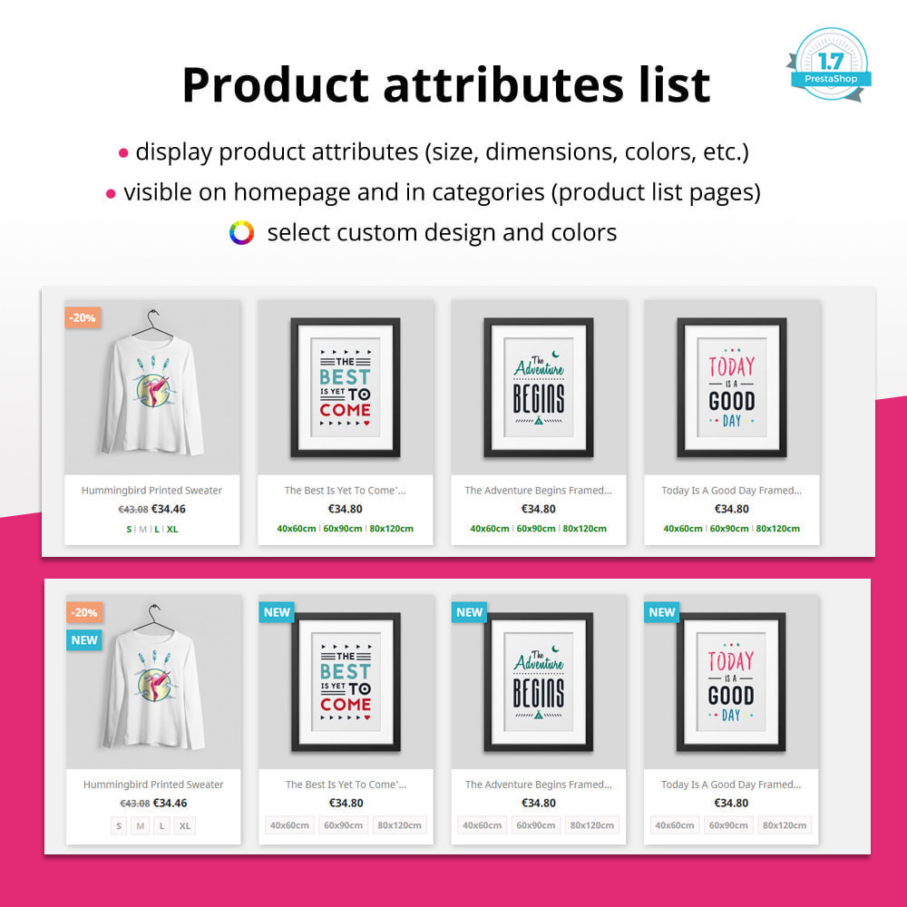 module - Combinations & Product Customization - Product attributes / combinations in category - 1