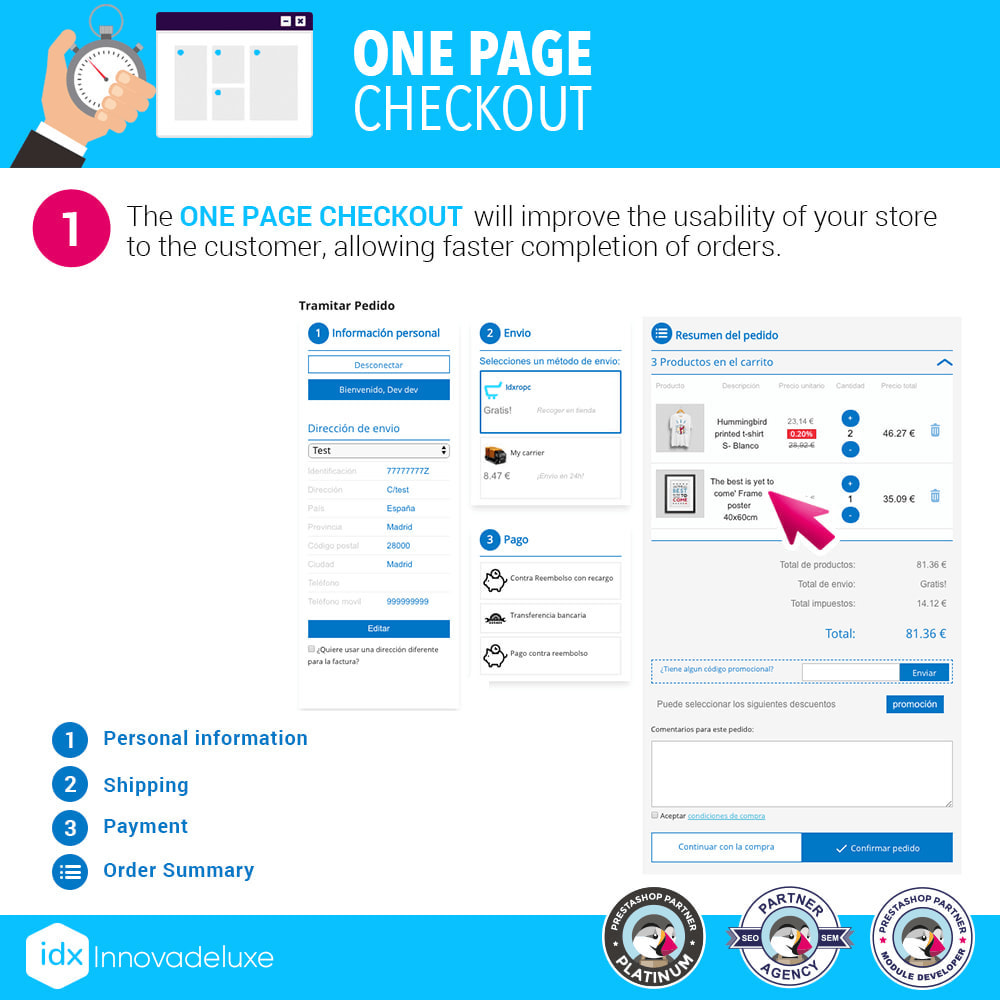 module - Processo de pedido - One page checkout - Fast purchase process - 2