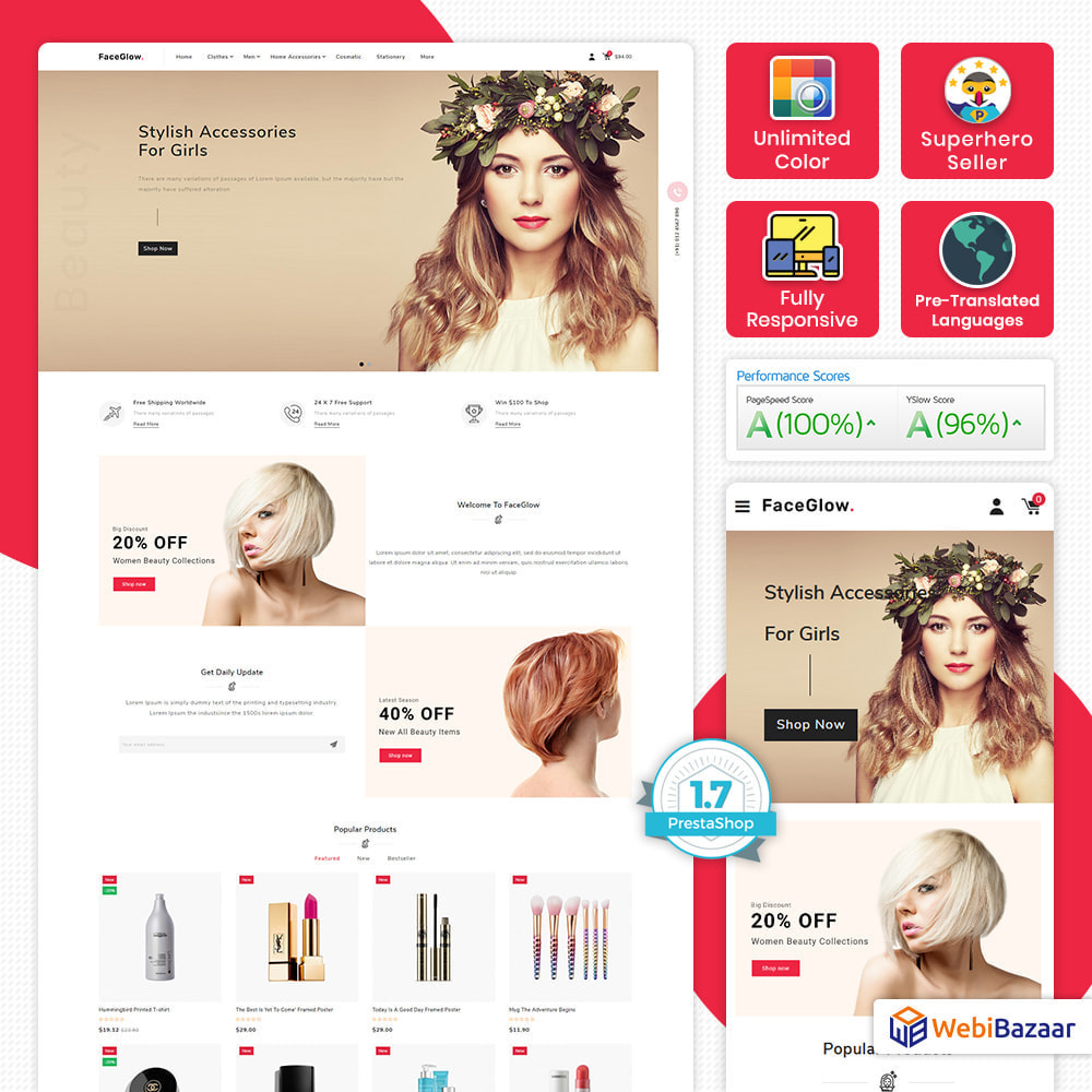 theme - Salute & Bellezza - FaceGlow - Beauty Cosmetics Store - 1