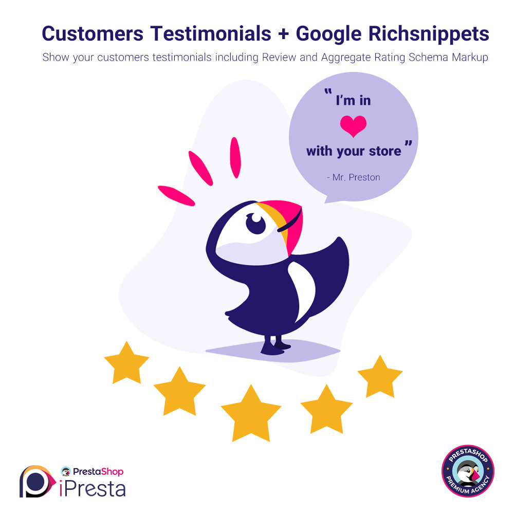 module - Comentarios de clientes - Testimonials + Google Richsnippets (Schema Markup) - 1